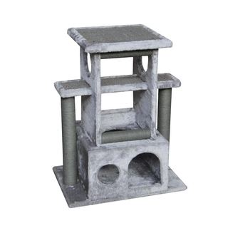 Kitty Mansions Omaha Grey Faux Fur and Sisal Rope Cat Tree