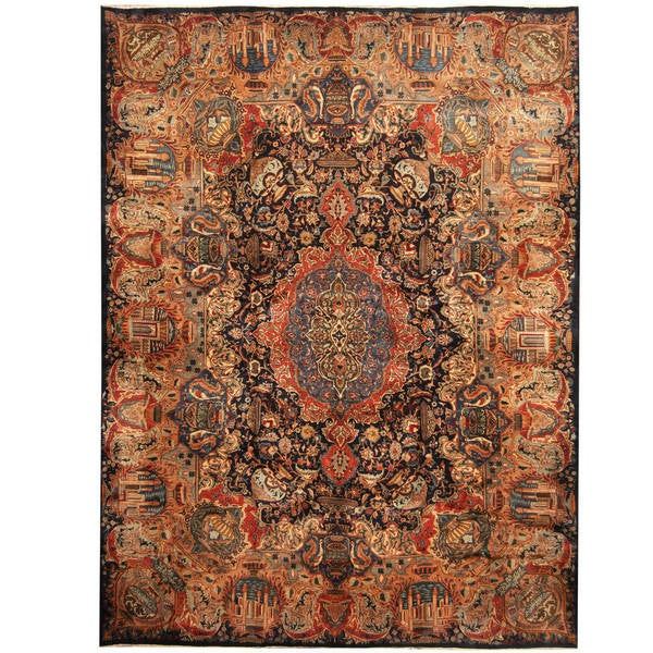 Herat Oriental Persian Hand-knotted Kashmar Wool Rug - 9'10 x 13'2