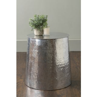 East At Main's Mabel Silver Aluminum Round Accent Table