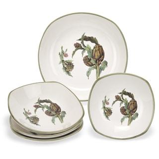Lorren Home Trend Artichoke Ceramic Pasta Bowl (5-piece Set)