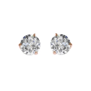 18k Rose Gold 3-prong Round IGI Certified 2CTtw Diamond Stud Earrings (I, SI2)