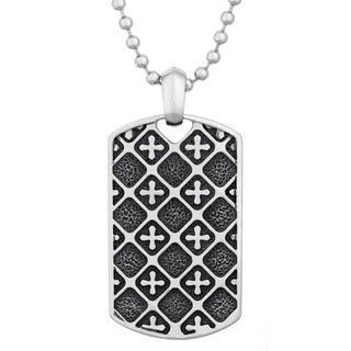 Stainless Steel Antiqued Finish Dog Tag Pendant