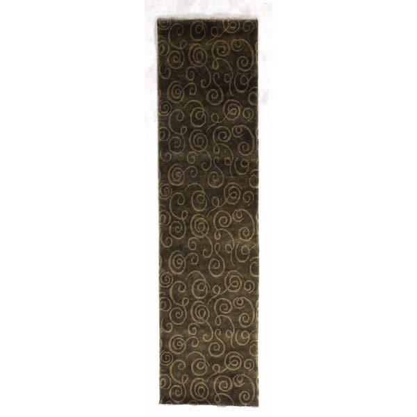 Exquisite Rugs Metropolitan Brown / Beige New Zealand Wool Runner Rug (2'7 x 10')