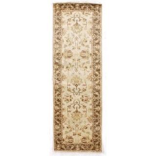Exquisite Rugs Ziegler Ivory / Brown New Zealand Wool Runner Rug (2'6 x 8' Runner) - 2'6 x 8'