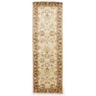 Exquisite Rugs Ziegler Ivory / Brown New Zealand Wool Runner Rug - 2'6 x 8'