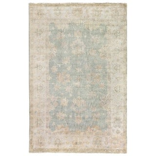 Light Blue New Zealand Wool Turkish Oushak Runner Rug (3' x 11')