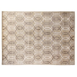 Exquisite Rugs Tibetan Weave Ivory Wool and Silk Runner Rug (6' x 16')