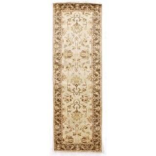 Ivory and Brown New Zealand Wool Ziegler Runner Rug (2'6 x 10')