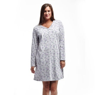 La Cera Women's Grey Cotton Long Sleeve Jersey Knit Sleepshirt