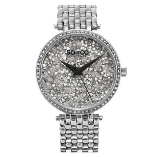 SO&CO New York Women's Quartz SoHo Crystal Watch with Stainless Steel Link Bracelet