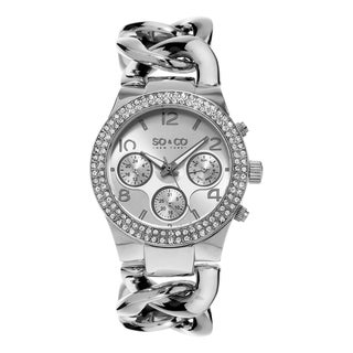 SO&CO New York SoHo Crystal Women's Watch with Stainless Steel Link Bracelet