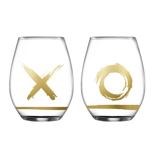 Hugs and Kisses Clear Stemless Glasses (Set of 2)