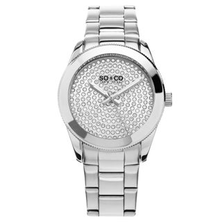 SO&CO Women's 'Madison' Quartz, Crystal, and Stainless Steel Link Watch