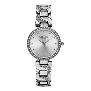 SO&CO New York Women's SoHo Silvertone Quartz Crystal Watch with Stainless Steel Link Bracelet