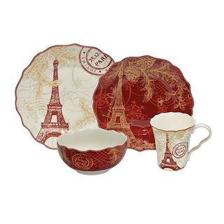 222 Fifth 'Joyeux Noel' Red and Gold 16-piece Dinnerware Set