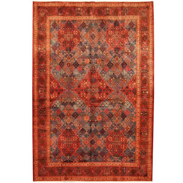 Handmade Herat Oriental Persian Moud Wool Rug (Iran) - 7'6 x 11'