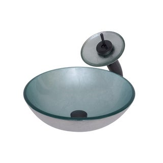 Novatto Argento Glass Vessel Bathroom Sink Set, Oil Rubbed Bronze
