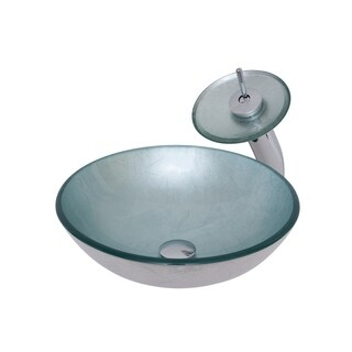 Novatto Argento Glass Vessel Bathroom Sink Set, Chrome