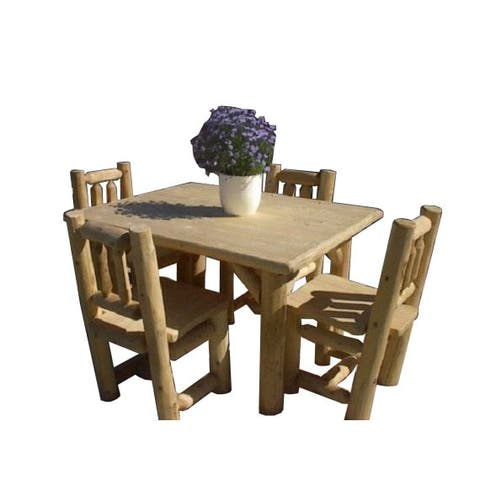White Cedar Log Rustic Table and Chair Set