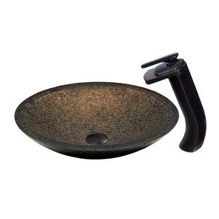 Novatto Laghetto Glass Vessel Bathroom Sink Set, Oil Rubbed Bronze