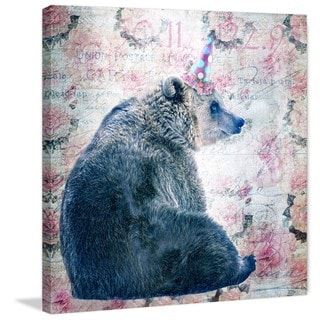 Marmont Hill - 'Party Bear' by Morgan Jones Painting Print on Wrapped Canvas