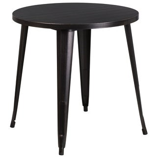 30 inch Round Black-Antique Gold Metal Indoor-Outdoor Table