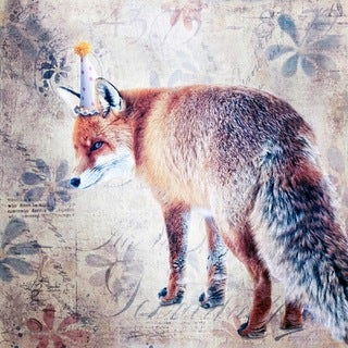 Marmont Hill - 'Party Fox' by Morgan Jones Painting Print on Wrapped Canvas