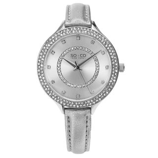 So Co New York Women's SoHo Quartz Crystal Ultra Thin Silver Leather Strap Watch