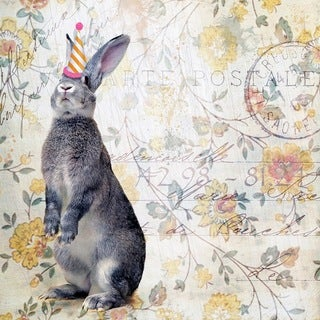 Marmont Hill - 'Party Rabbit' by Morgan Jones Painting Print on Wrapped Canvas