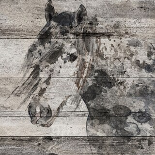 Marmont Hill - 'Dark Grey Horse' by Irena Orlov Painting Print on Wrapped Canvas