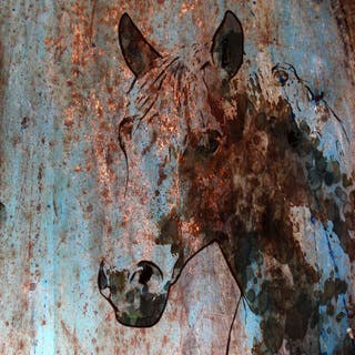 Marmont Hill - Handmade Rustic Horse II Print on Wrapped Canvas