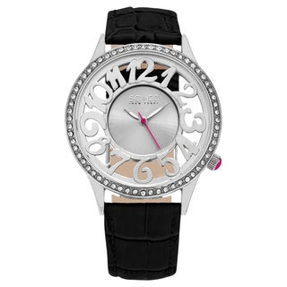 SO CO New York Women's SoHo Black Leather Strap Mineral Dial Quartz Movement Watch