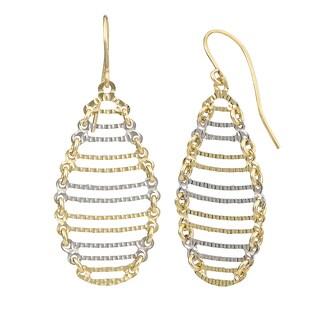 Fremada 14k Two-tone Gold Oval Ladder Dangle Earrings