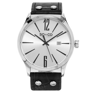 SO&CO 'Madison' Men's Quartz Watch with Black Leather Strap