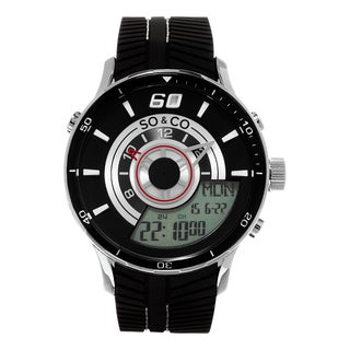 SO CO New York Monticello Black Rubber Strap Men's Quartz Digital Watch