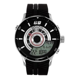 SO&CO New York Men's Quartz Digital Monticello Watch with Black Rubber Strap