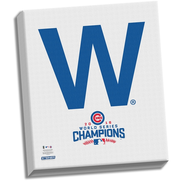 """Chicago Cubs """"The W"""" 2016 World Series Champions 22x26 Celebration Stretched Canvas"""