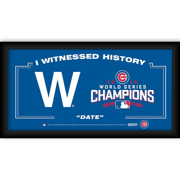 """Chicago Cubs """"The W"""" 2016 World Series Champions Framed 10x20 I Witnessed"""
