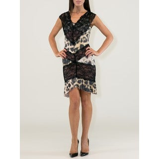 Women's Animal Print Viscose V-neck Sleeveless Lacy Dress