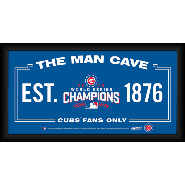 Chicago Cubs 2016 World Series Champions Framed 10x20 Man Cave Sign