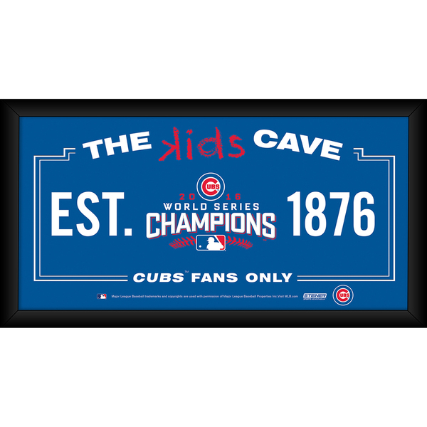 Chicago Cubs 2016 World Series Champions Framed 6x12 Kids Cave Sign
