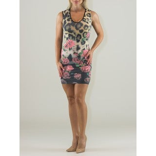 Women's Multicolor Polyamide Sleeveless Fitted Dress