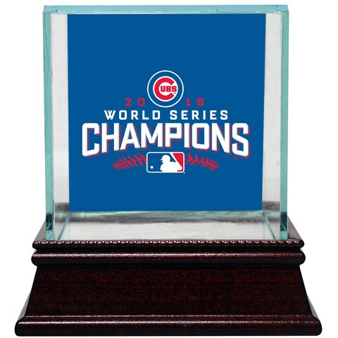Chicago Cubs 2016 World Series Champions Logo Glass Baseball Case
