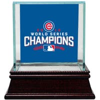 Chicago Cubs 2016 World Series Champions Logo Glass Baseball Case