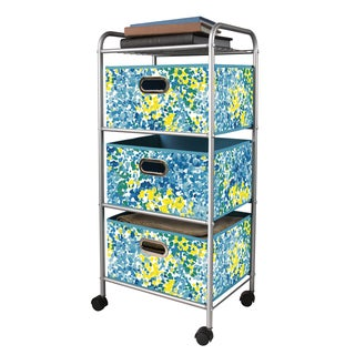 Blue/ Green 3-drawer Metal Trolley Cart