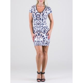 Women's Polyamide V-Neck Tiger Print Dress