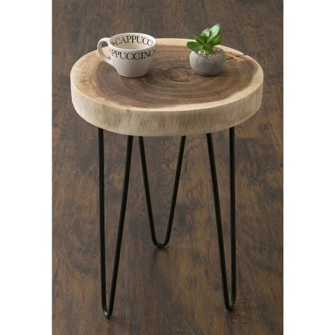 Carbon Loft Julia Brown Teakwood Round Accent Table