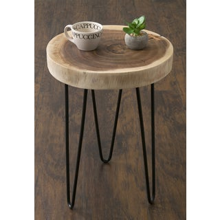 Elegant Pine Canopy Nantahala Brown Teakwood Round Accent Table