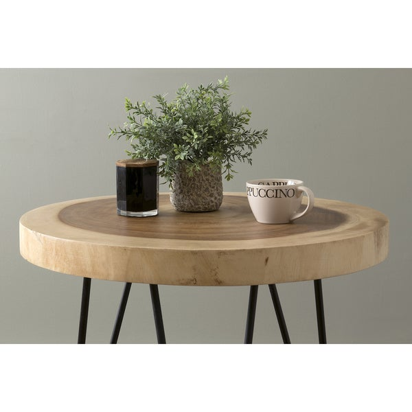East At Mains Larkin Brown Teakwood Round Accent Table Free