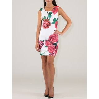 Women's Polyester Red Roses Dress
